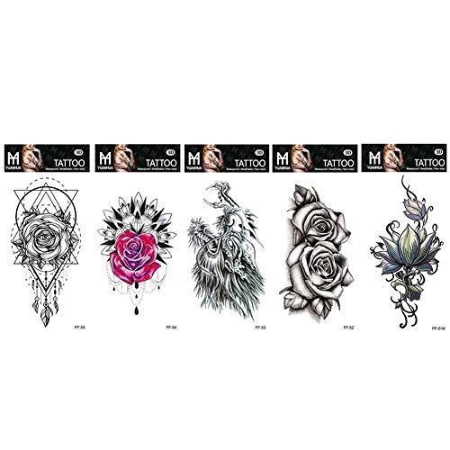 1/5 foglio tatuaggi temporanei nero rosa fiore braccio body art adesivi impermeabili fai da te adesivi tatuaggio finto impermeabile per uomini donne ragazze adulti body art