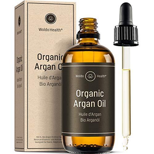 Olio di Argan puro 100% pressato a freddo biologico - Ricco di Vitamina E e Antiossidanti Adatto per Capelli, Corpo e Unghie, Pelle 100ml