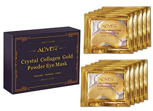 Aliver nuovo cristallo 24K Oro in polvere gel maschera di collagene,Maschera per gli occhi. 10 paia / pacchetto