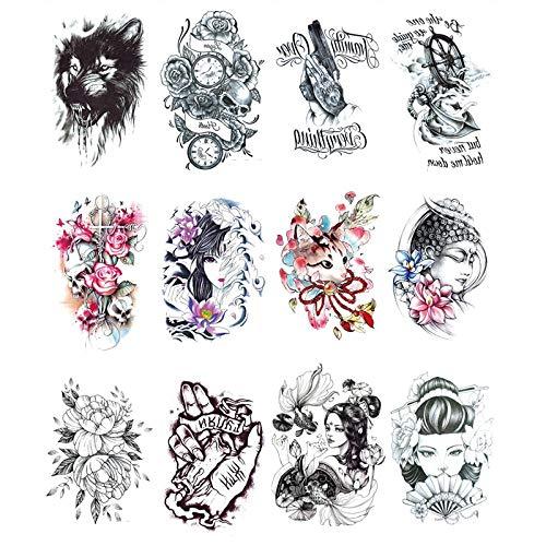 YLGG Tatuaggi Adesivi Tatuaggio temporaneo Moda Geisha, Adatti per Uomini e Donne, Impermeabili, Rimovibili