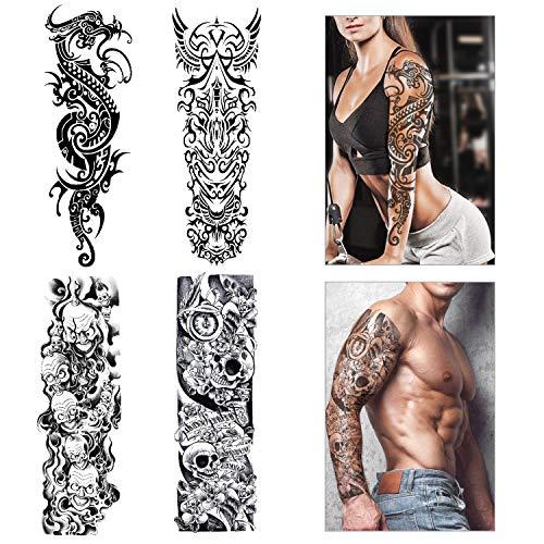 Konsait Grande tatuaggi temporanei braccioTatuaggio Temporaneo Adesivi tatoo finti Rimovibili per adulti uomo donne (4 fogli)