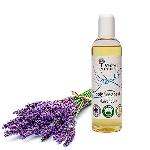 Verana Olio Per Massaggi Lavanda, Naturale, Senza OGM, Per il Corpo, Rende la Pelle Morbida ed Elastica, Calma il Sistema Nervoso, Energizza Aromaterapia 250ml