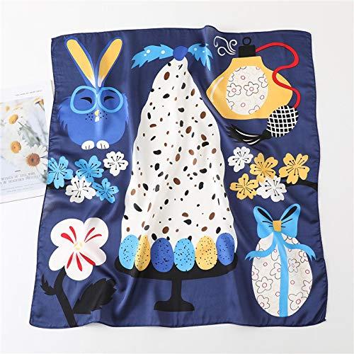 Sciarpa Scialli Sciarpa Quadrata in Seta con Stampa Adorabile per Fascia per Capelli con Collo da Donna Foulard Bandana Cartoon Rabbit Women Fazzoletto da Collo Cravatta Sciar
