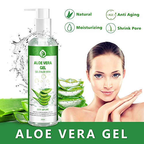 Aloe Vera Gel 100% - Organico Gel Aloe Vera per Idratare Viso, Corpo e Capelli - Naturale, lenitivo e Nutriente Idratante Ideale per Pelle Secca e Stressata e Scottature Solari - 250ml