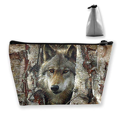 Cool Wolf Birch Tree Waterproof Trapezoidal Bag Cosmetic Bags Makeup Bag Large Travel Toiletry Pouch Portable Storage Pencil Holders