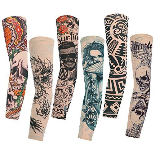 Konsait 6pcs Maniche Tatuaggio, Nylon Elastiche Realistico Tatuaggio Temporaneo Finti Tattoo Sleeve per Uomo Donna, Sportiva Protezione, Ciclismo,Ventilazione di Protezione Solare