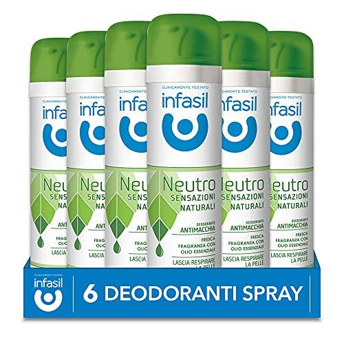 Infasil Deodorante Spray Neutro Sensazioni Naturali Fragranza con Olio Essenziale, Antimacchia, Senza Sali di Alluminio, 6 Deodoranti da 150 ml