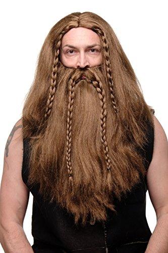 Wig Me Up - Parrucca E Barba, Intrecciata, Da Uomo, Carnevale,Barbaro, Vichingo, Nano, Tedesco, Castano, Rj033-P6