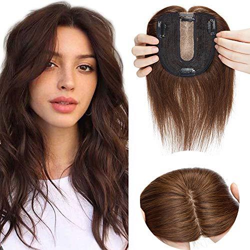 SEGO Hair Topper Clip Lace Toupee Donna Uomo Capelli Veri Extension Toupet Remy Human Hair Indiani Effetto Invisibile 15cm 27g (Base 10cm*12cm con Silk Top) - #4 Marrone Medio