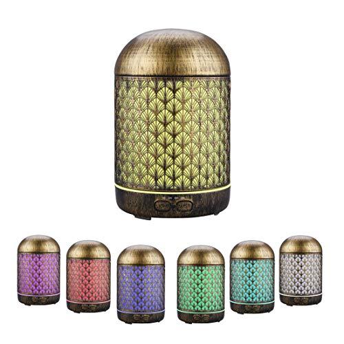 Diffusore di olio essenziale, JVJH 300ml Diffusore di Aromi Metallo, Diffusore di olio per aromaterapia con luci LED a 7 colori e spegnimento automatico senz'acqua (Albero)