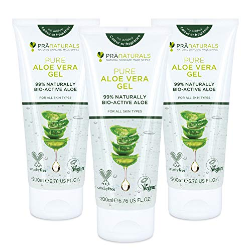 Gel di Pura Aloe Vera PraNaturals 200ml VEGAN (Pacco da 3)