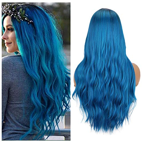 Colorfulpanda Parrucca Ombre Blu Lungo per Donna, Ricci Capelli Parrucche Naturale Ondulata Sintetici Capelli Blue Wig per Uso Quotidiane Cosplay Halloween