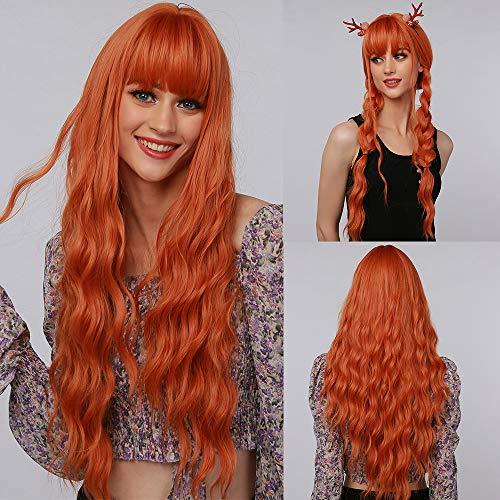 MISHAIR Parrucche donna con frangia capelli lunghi e ricci Capelli sintetici Moda Parrucca donna capelli rossi per la vita quotidiana 28 pollici arancia Zucca