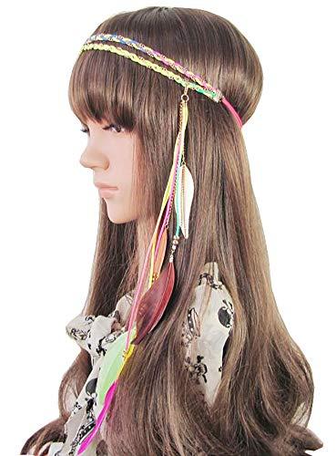 Fascia per piume Boho Hippie Fascia per capelli, donne Nappe di piume Nappa per foglie Fascia Intrecciata Hippie Accessori per capelli
