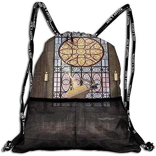 Zaini con Coulisse Borse,Leggio su Pentagramma Simbolo Architettura Medievale Lume di Candela in Altare Buio Incantato,Regolabile