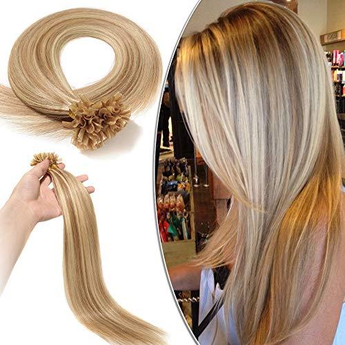 Elailite Extension Capelli Veri Cheratina Lunga Durata 100 Ciocche Meches - 100% Remy Human Hair Balayage Pre Bonded U Tip 40cm 50g #12/#613 Marrone Chiaro/Biondo Chiarissimo