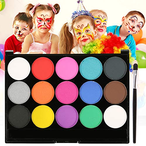 Skymore Trucco Bambini, Body Painting,15 Colori Pittura Facciale con 1 Pennelli, feste, Trucco make-up, del fronte di corpo di vernice pittura olio trucco