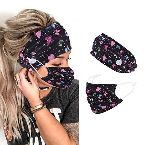 Zoestar - Fascia per capelli stile boho, con bottoni neri, per yoga, testa, sciarpe, farfalle, con stampa a turbante, per donne e ragazze (F)