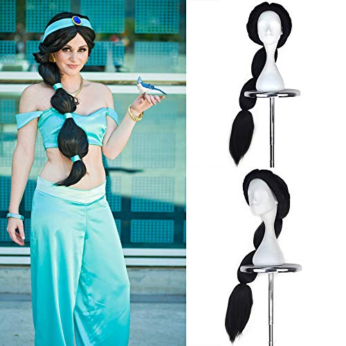 JOMICO Jasmine Princess Cosplay parrucca sintetica molto lunga dritto capelli neri intrecciati parte centrale costume parrucca per donne Halloween Carnevale Masquerade parrucche