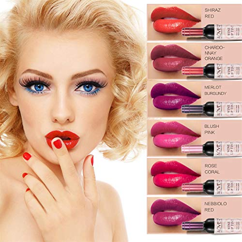 6 set Wine Bottle Lip gloss Tint Water Proof Lipstick Tint, Long Lasting Kiss proof, Non-stick Cup Lipstick Gloss