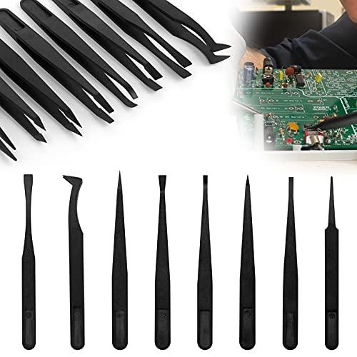 Set di Pinzette in Plastica 8 Psc Pinzette Antistatiche Elettronica Pinzette in Plastica Antistatiche Pinzette Industriali Antistatiche Professionali Pinzette di Precisione per Saldatura Artigianato