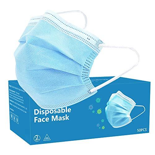 50 maschere usa e getta, 3 strati traspiranti per il viso, uso quotidiano, colore blu