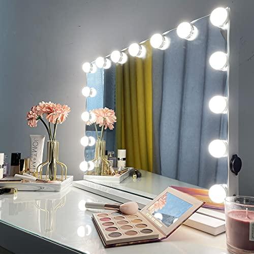 iCREAT Hollywood Specchio da trucco con 15 lampadine dimmerabili, grande specchio cosmetico con illuminazione intelligente touch screen regolabile 58 x 43 cm