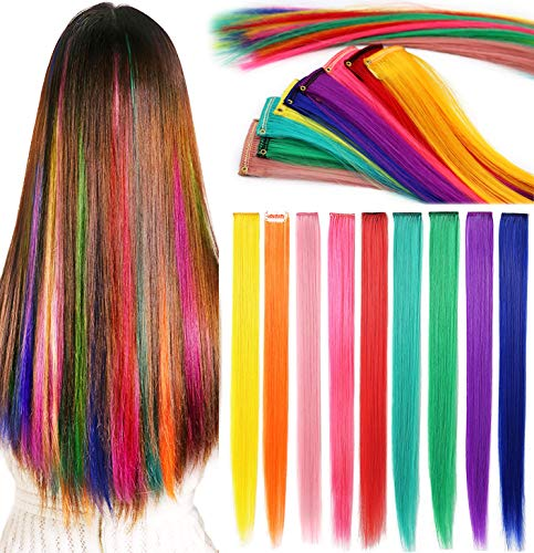 Rhyme 9Pcs Extension Capelli Colorati Clip, 50 CM Colored Clip in Hair Extensions, Ciocche Colorate per Capelli in 9 Colori Diversi, per Donne Bambini Acconciature Cosplay Halloween Regalo Compleanno