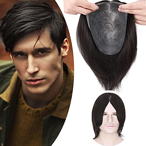SEGO Toupee Uomo Capelli Veri Topper Lace Protesi Remy Human Hair Lisci Umani 20cm Toupet 90g 120% Density Base Lace mix PU 20cm*25cm #Nero Naturale