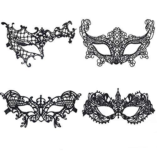 Meimask Maschera di pizzo Maschere di travestimento in pizzo Maschera veneziana per gli occhi Maschera per gli occhi delle donne sexy per Halloween Costume da carnevale per feste di carnevale(4 pezzi)