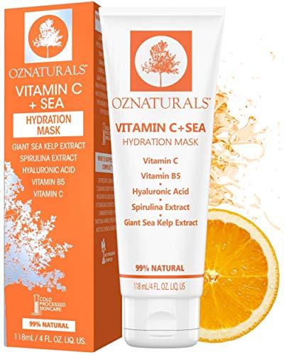 OZ Naturals Maschera viso alla vitamina C – la maschera viso idratante per la pelle secca con acido ialuronico, vitamina B5