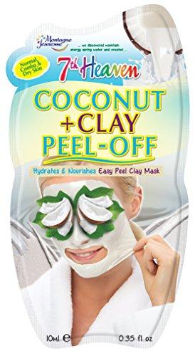 7th Heaven - Maschera facile da staccare, con cocco pressato e argilla caolino naturale per idratare e nutrire la pelle, ideale per pelli normali, combinate e secche