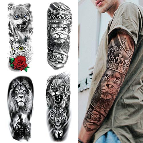 4 Fogli Tatuaggi Temporanei Braccio Completo, Feelairy Grande Tatuaggi Braccio Leone Tigre Lupo Tattoo Sleeve Nero Tatuaggio Adesivo Corpo Realistica 3D Falso Adesivi Animali per Adulti Uomo Donna