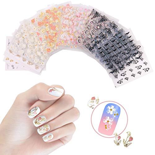 50 fogli Adesivi per unghie 3D Adesivi per unghie autoadesivi Disegni per nail art per donne Ragazze - Fiori vari/Cranio di Halloween/Farfalla/Stelle/Baffi/Laccio