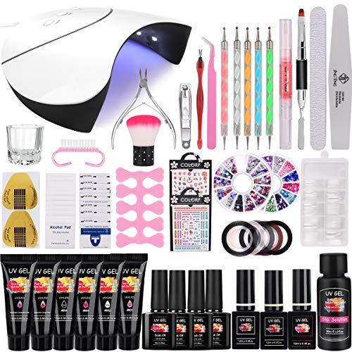 36W Lampada Kit UV GEL Unghie Completo, MYSWEETY Kit Unghie Gel Completo Salone Set per Unghie con 6 Estensione 4 Colorati Gel e Nail Art Gli Strument