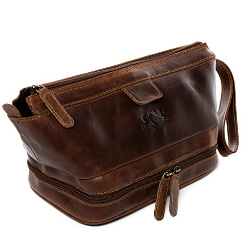 SID & VAIN® borsa toiletry vera pelle vintage TINGHAM grande borsetta necessaire Toilette pochette beauty case da Viaggio uomo cuoio marrone