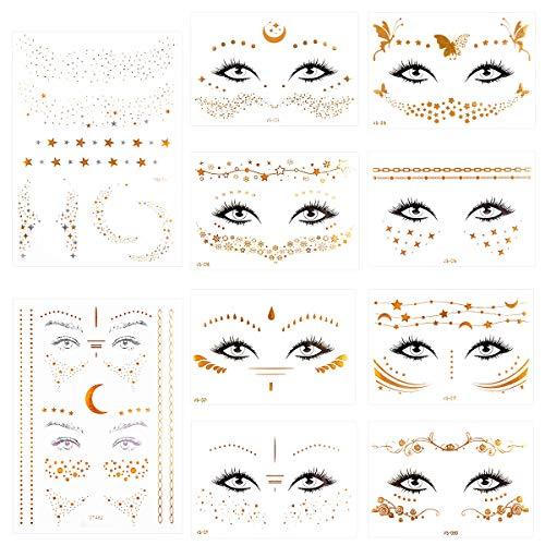 Tatuaggio Viso, Tatuaggio Temporaneo Oro Metallico Adesivo viso finto oro per Donne Adulti Festa Festival Festa,10 Fogli