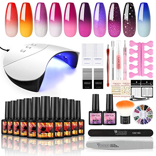 Coscelia Set Smalti Semipermanenti Unghie Gel 10pz per Manicure Che Cambia Colore con La Temperatura Smalto in Soak off Gel Camaleonte 36W Lampada LED Lampada UV Kit Nail Art Completo