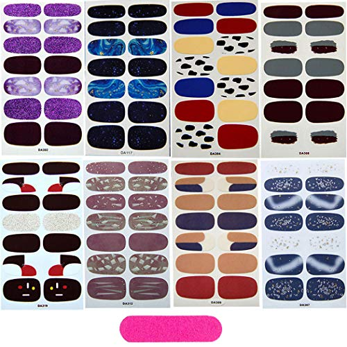 MWOOT 8 Fogli Adesivo Smalto per Unghie Copertura Completa Colorato Autoadesivo Punta Unghie Art Sticker Decalcomanie Manicure DIY Decorazioni Strumenti