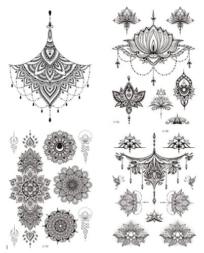 4 fogli di tatuaggi al seno Underboobob, motivo mandala, fiori di loto, tatuaggi Kelly 4
