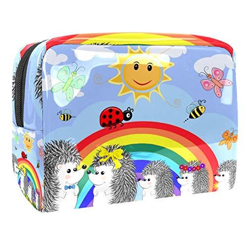 Beauty Case da Viaggio Borsa da Viaggio Riccio Coccinella Arcobaleno Impermeabile Cosmetici Trousse Toiletry Bag Sacchetti di Trucco per Uomini e Donne 18.5x7.5x13cm