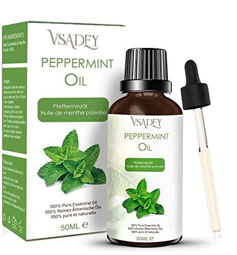 Olio Essenziale di Menta Piperita 50ml - 100% Puro E Naturale, Olio di Piperita per Aromaterapia Diffusore