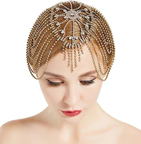 ArtiDeco - Fascia per capelli da donna, stile Gatsby anni '20, flapper girl gold Taglia unica