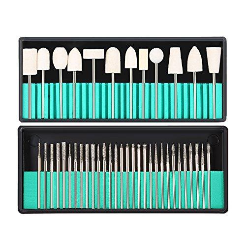Anself - Punta da trapano per unghie, risparmio 30pcs in acciaio inox + 12pcs risparmio di lana - colore per lucidante Manicure Pedicure