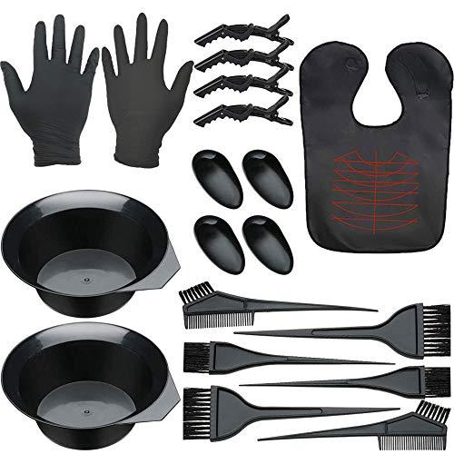 XUBX 19 pezzi Kit per tingere i capelli, Pennello per Tinta Capelli, strumenti per salone di bellezza, Kit Colorazione Tintura con Ciotola, Mantellina, Pennello, Ciotola, per Capelli, Guanti, Clip