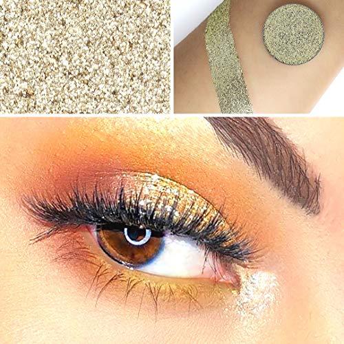 Ombretto in glitter a forma di olografico dorato. singolo pan ombra si adatta a qualsiasi tavolozza magnetica.