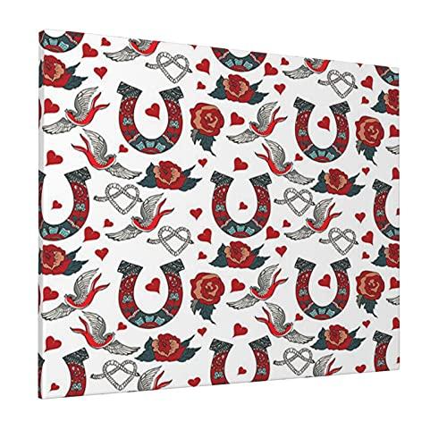 M-shop - Dipinto a ferro di cavallo, 40,6 x 50,8 cm, collezione di ferro di cavallo con rose rondine cuori corda floreale ornamentale tatuaggio stile panoramico arte da parete