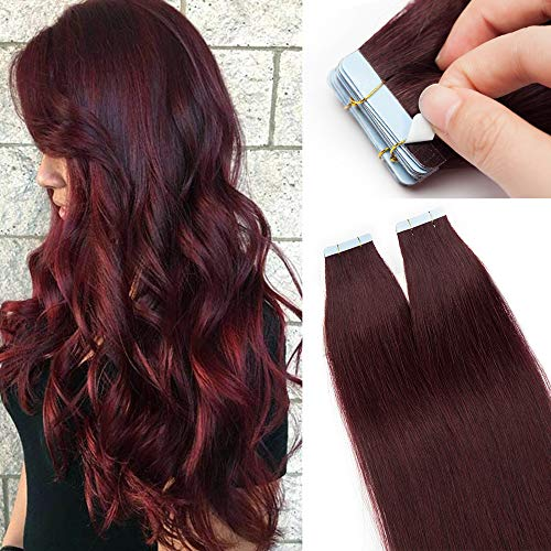 Silk-co Extension Capelli Veri Biadesivo 20 Fasce 100% Remy Human Hair 45cm #99J Vino Rosso 30g/Set