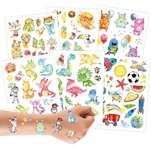 100 tatuaggi da attaccare - tatuaggi per bambini con dinosauri, mostri, draghi, animali della foresta e altri disegni adatti ai bambini - come regalo di compleanno o idea regalo