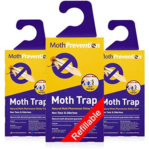 Potenti trappole per le tarme del tessuto e dei tappeti, confezione da 3, ricaricabili, inodori e naturali